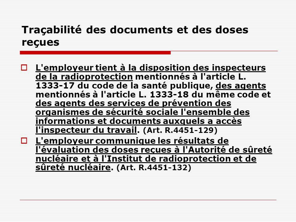 Traçabilité des documents et des doses reçues L'employeur tient à la disposition des inspecteurs de la radioprotection mentionnés à l'article L. 1333-