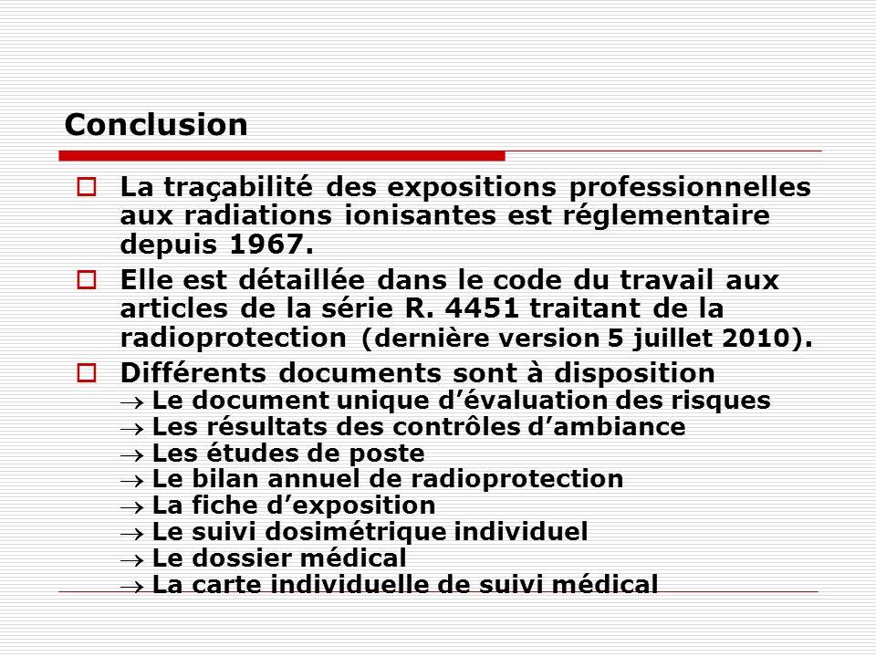 Conclusion La traçabilité des expositions professionnelles aux radiations ionisantes est réglementaire depuis 1967. Elle est détaillée dans le code du