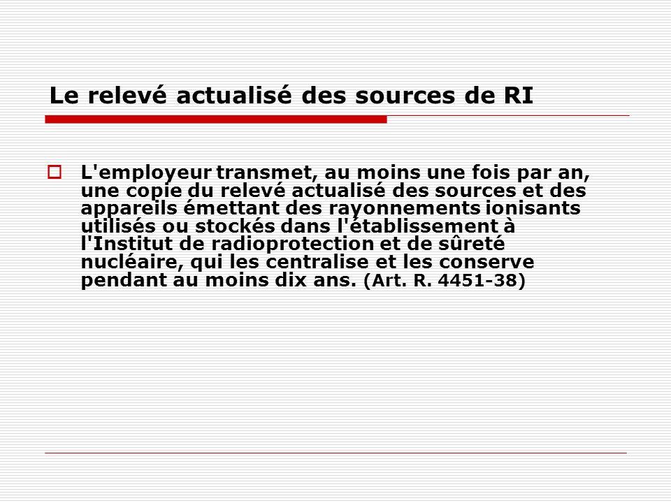Le relevé actualisé des sources de RI L'employeur transmet, au moins une fois par an, une copie du relevé actualisé des sources et des appareils émett