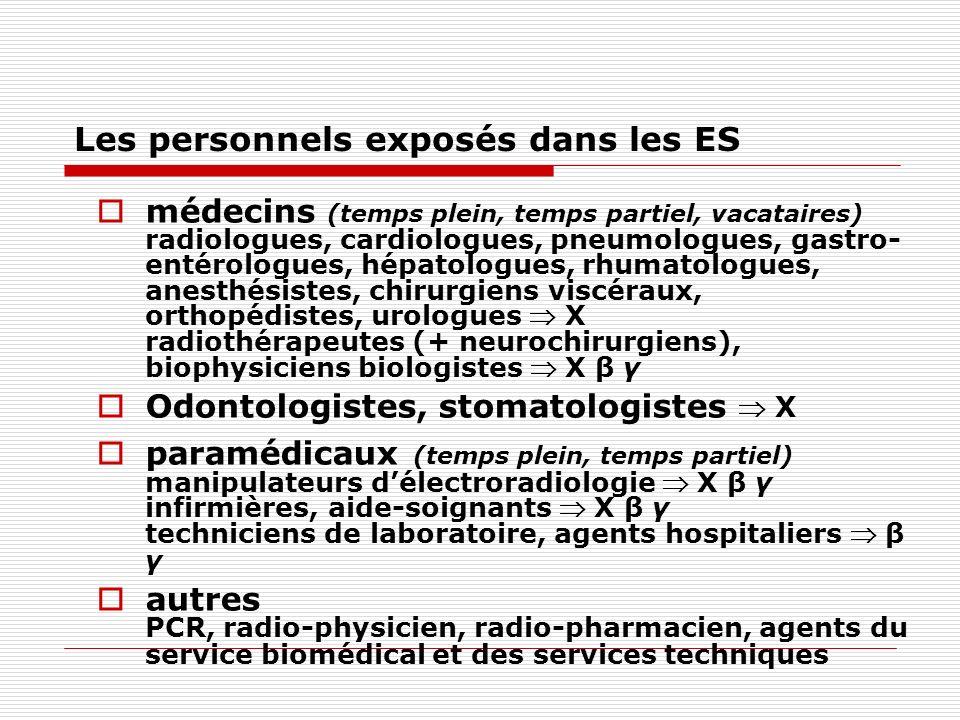 Les personnels exposés dans les ES médecins (temps plein, temps partiel, vacataires) radiologues, cardiologues, pneumologues, gastro- entérologues, hé
