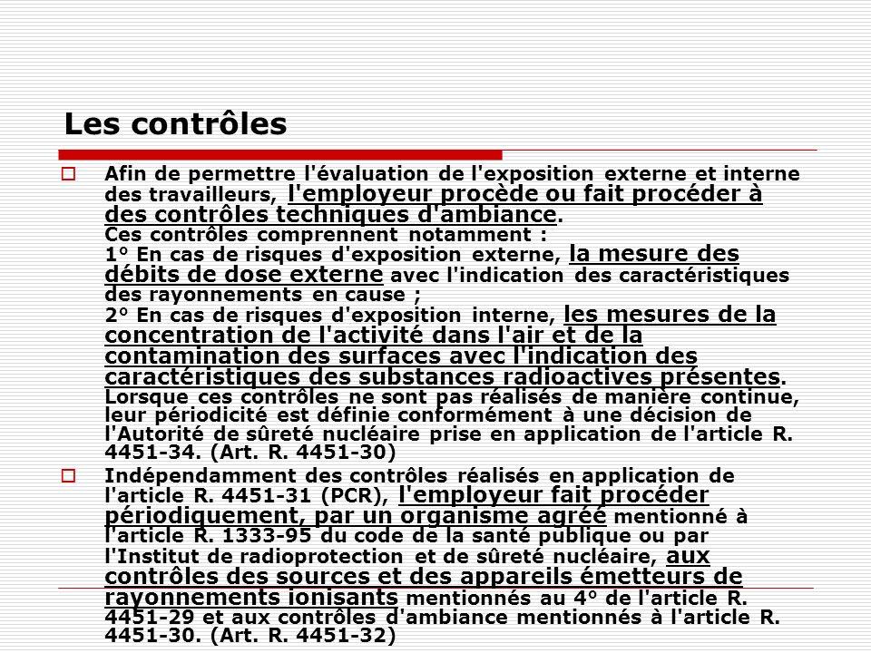 Les contrôles Afin de permettre l'évaluation de l'exposition externe et interne des travailleurs, l'employeur procède ou fait procéder à des contrôles
