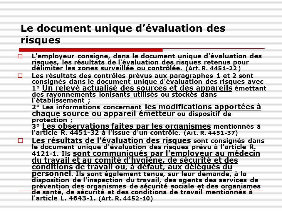 Le document unique dévaluation des risques L'employeur consigne, dans le document unique d'évaluation des risques, les résultats de l'évaluation des r