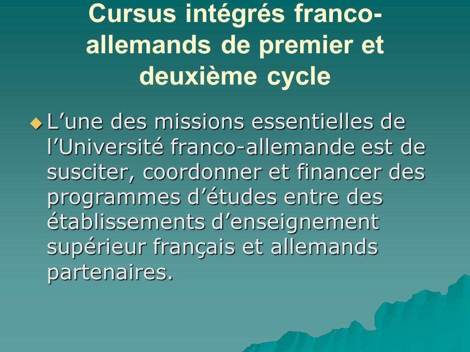 Cursus intégrés franco- allemands de premier et deuxième cycle Lune des missions essentielles de lUniversité franco-allemande est de susciter, coordonner et financer des programmes détudes entre des établissements denseignement supérieur français et allemands partenaires.