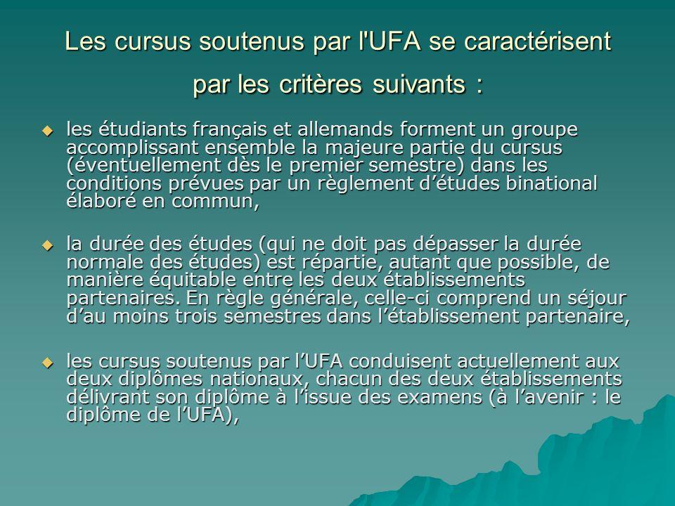 Les cursus soutenus par l UFA se caractérisent par les critères suivants : les étudiants français et allemands forment un groupe accomplissant ensemble la majeure partie du cursus (éventuellement dès le premier semestre) dans les conditions prévues par un règlement détudes binational élaboré en commun, la durée des études (qui ne doit pas dépasser la durée normale des études) est répartie, autant que possible, de manière équitable entre les deux établissements partenaires.