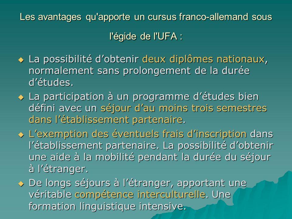 Les avantages qu apporte un cursus franco-allemand sous l égide de l UFA : La possibilité dobtenir deux diplômes nationaux, normalement sans prolongement de la durée détudes.
