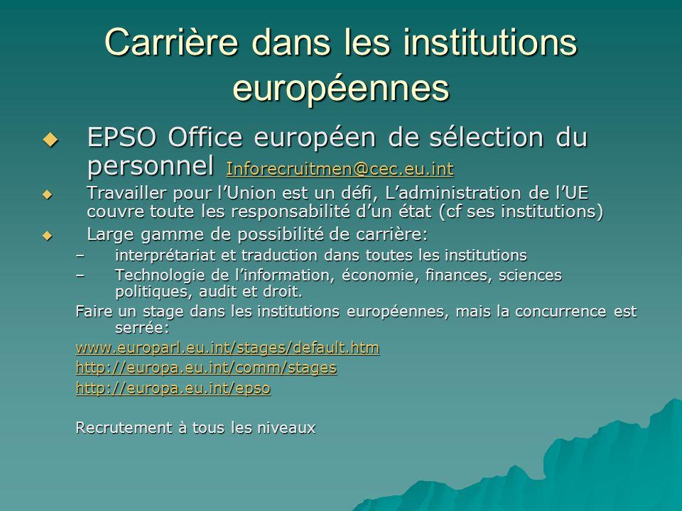 Carrière dans les institutions européennes EPSO Office européen de sélection du personnel Inforecruitmen@cec.eu.int EPSO Office européen de sélection du personnel Inforecruitmen@cec.eu.int Inforecruitmen@cec.eu.int Travailler pour lUnion est un défi, Ladministration de lUE couvre toute les responsabilité dun état (cf ses institutions) Travailler pour lUnion est un défi, Ladministration de lUE couvre toute les responsabilité dun état (cf ses institutions) Large gamme de possibilité de carrière: Large gamme de possibilité de carrière: –interprétariat et traduction dans toutes les institutions –Technologie de linformation, économie, finances, sciences politiques, audit et droit.