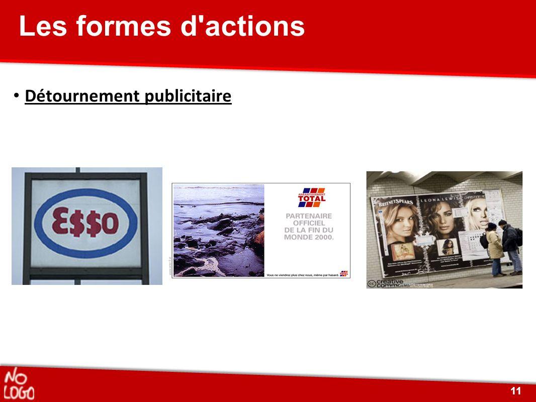 Détournement publicitaire Les formes d'actions 11