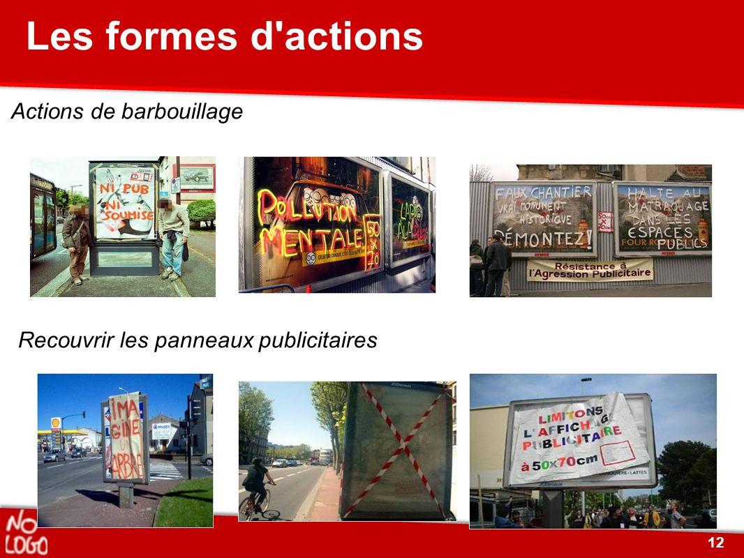 Actions de barbouillage Recouvrir les panneaux publicitaires Les formes d'actions 12