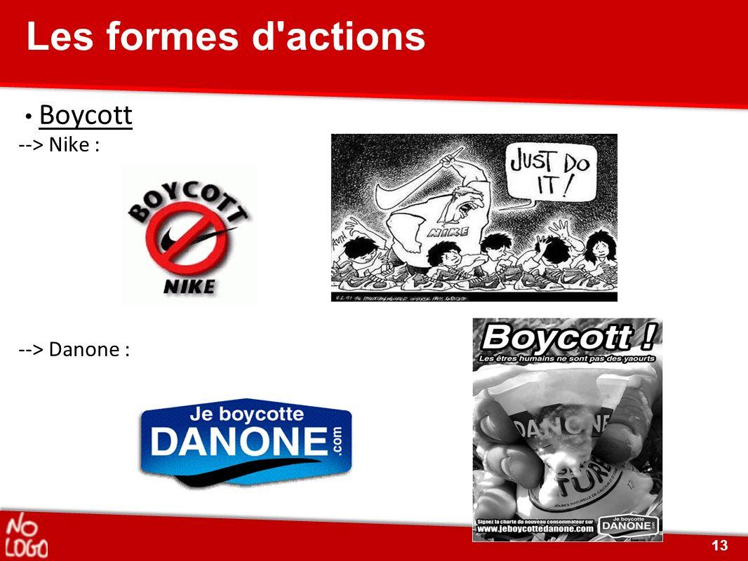 Boycott --> Nike : --> Danone : Les formes d'actions 13