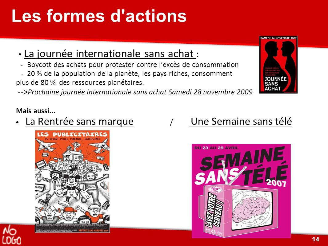 Les formes d'actions La journée internationale sans achat : - Boycott des achats pour protester contre lexcès de consommation - 20 % de la population