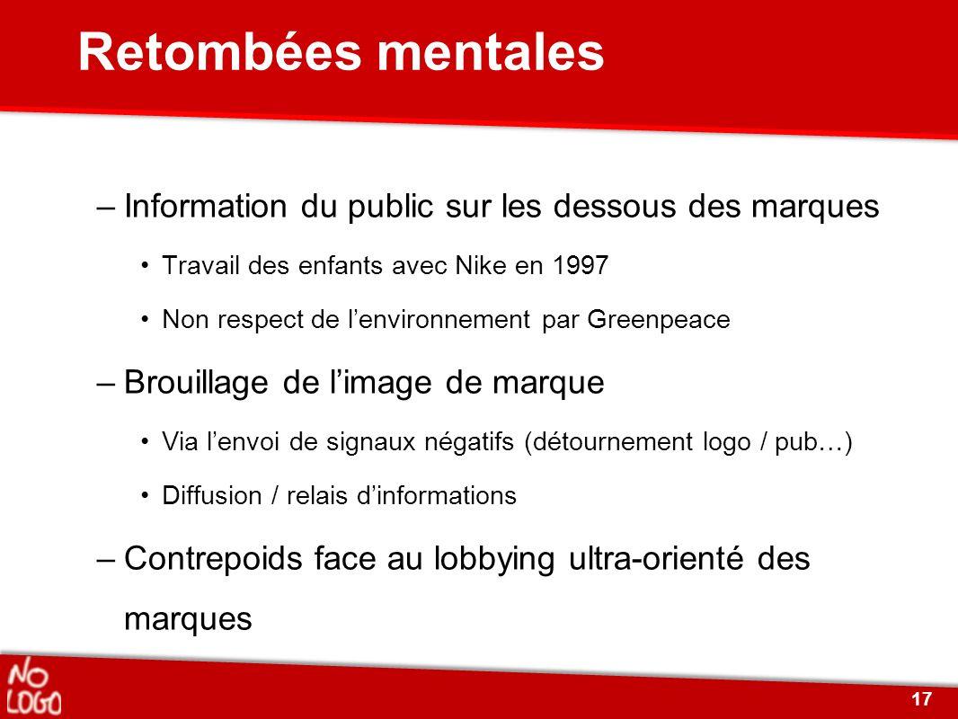 Retombées mentales –Information du public sur les dessous des marques Travail des enfants avec Nike en 1997 Non respect de lenvironnement par Greenpea