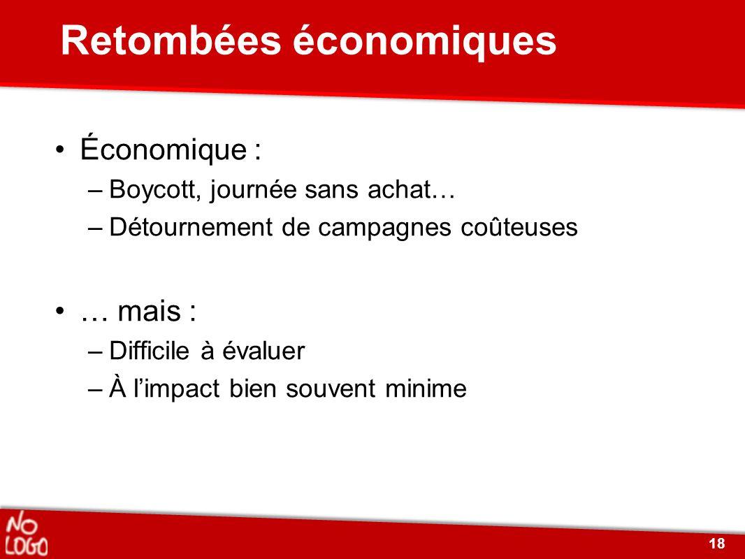 Retombées économiques Économique : –Boycott, journée sans achat… –Détournement de campagnes coûteuses … mais : –Difficile à évaluer –À limpact bien so