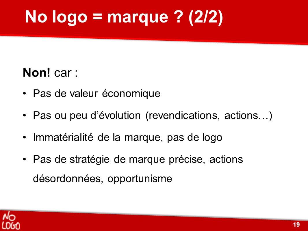 No logo = marque ? (2/2) Non! car : Pas de valeur économique Pas ou peu dévolution (revendications, actions…) Immatérialité de la marque, pas de logo