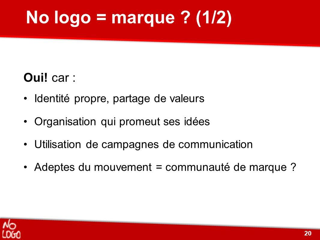 No logo = marque ? (1/2) Oui! car : Identité propre, partage de valeurs Organisation qui promeut ses idées Utilisation de campagnes de communication A