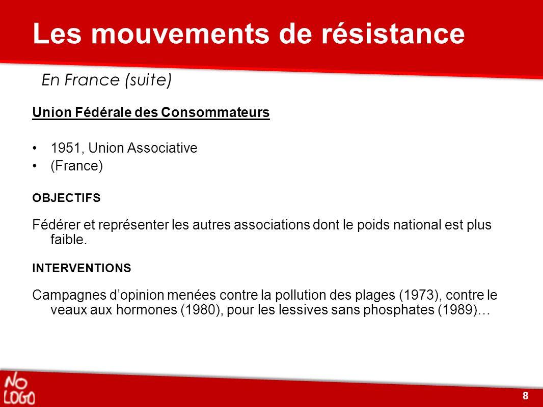 Union Fédérale des Consommateurs 1951, Union Associative (France) OBJECTIFS Fédérer et représenter les autres associations dont le poids national est