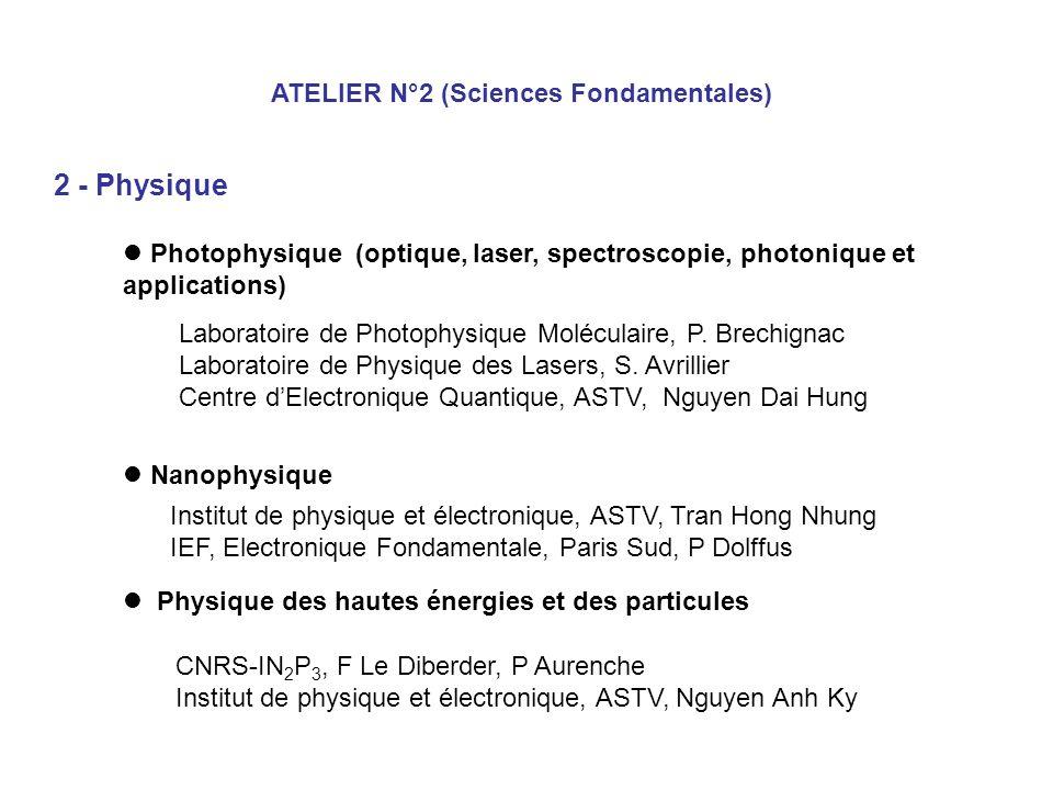 ATELIER N°2 (Sciences Fondamentales) 2 - Physique Photophysique (optique, laser, spectroscopie, photonique et applications) Nanophysique Physique des
