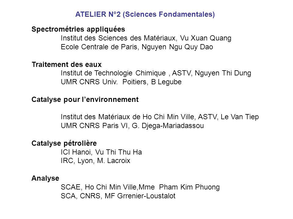 Spectrométries appliquées Institut des Sciences des Matériaux, Vu Xuan Quang Ecole Centrale de Paris, Nguyen Ngu Quy Dao Traitement des eaux Institut de Technologie Chimique, ASTV, Nguyen Thi Dung UMR CNRS Univ.