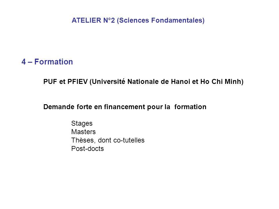 4 – Formation PUF et PFIEV (Université Nationale de Hanoi et Ho Chi Minh) Demande forte en financement pour la formation Stages Masters Thèses, dont co-tutelles Post-docts ATELIER N°2 (Sciences Fondamentales)