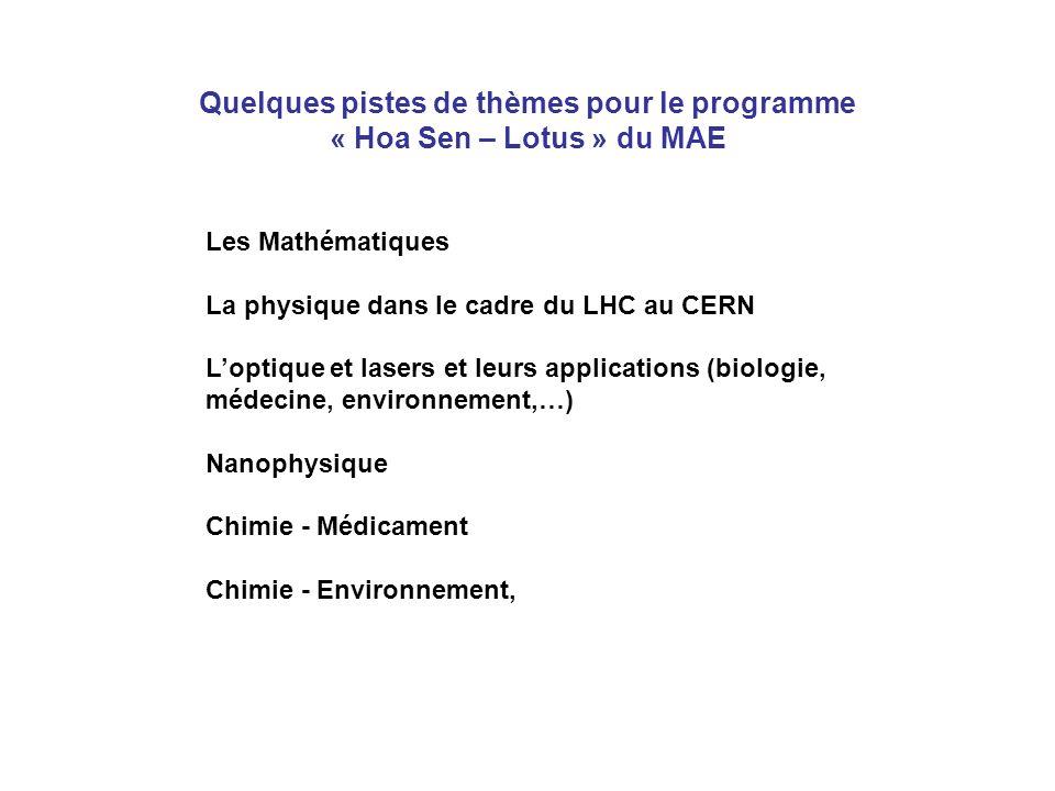 Les Mathématiques La physique dans le cadre du LHC au CERN Loptique et lasers et leurs applications (biologie, médecine, environnement,…) Nanophysique Chimie - Médicament Chimie - Environnement, Quelques pistes de thèmes pour le programme « Hoa Sen – Lotus » du MAE