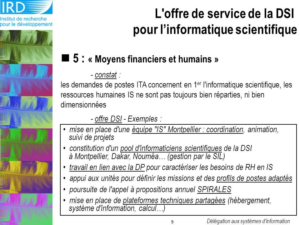 Délégation aux systèmes d information 9 5 : « Moyens financiers et humains » - constat : les demandes de postes ITA concernent en 1 er l informatique scientifique, les ressources humaines IS ne sont pas toujours bien réparties, ni bien dimensionnées - offre DSI - Exemples : mise en place d une équipe IS Montpellier : coordination, animation, suivi de projets constitution d un pool d informaticiens scientifiques de la DSI à Montpellier, Dakar, Nouméa… (gestion par le SIL) travail en lien avec la DP pour caractériser les besoins de RH en IS appui aux unités pour définir les missions et des profils de postes adaptés poursuite de l appel à propositions annuel SPIRALES mise en place de plateformes techniques partagées (hébergement, système d information, calcul…) L offre de service de la DSI pour linformatique scientifique