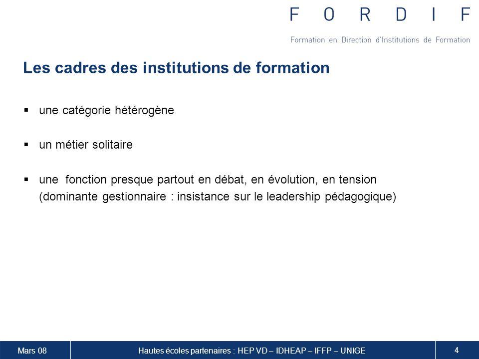 Mars 08 15 Hautes écoles partenaires : HEP VD – IDHEAP – IFFP – UNIGE Charge de travail et validation de la formation Chaque module est validé séparément.