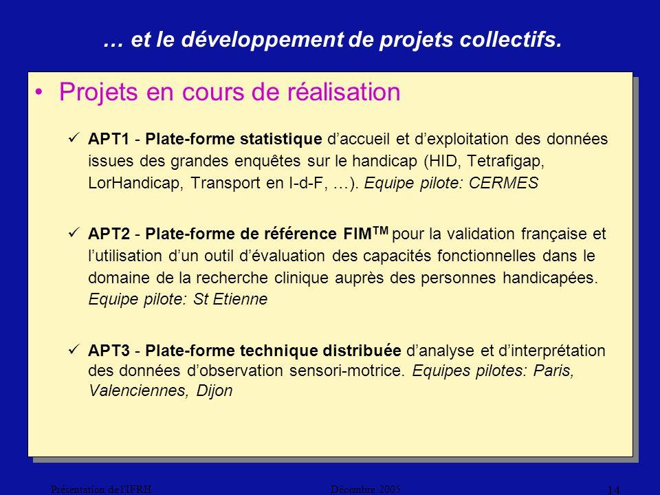 Décembre 2005Présentation de l IFRH 14 Projets en cours de réalisation APT1 - Plate-forme statistique daccueil et dexploitation des données issues des grandes enquêtes sur le handicap (HID, Tetrafigap, LorHandicap, Transport en I-d-F, …).