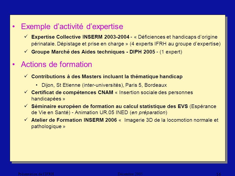 Décembre 2005Présentation de l IFRH 16 Exemple dactivité dexpertise Expertise Collective INSERM 2003-2004 - « Déficiences et handicaps dorigine périnatale.