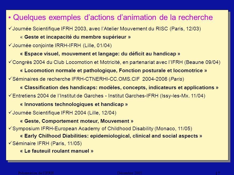 Décembre 2005Présentation de l IFRH 17 Quelques exemples dactions danimation de la recherche Journée Scientifique IFRH 2003, avec lAtelier Mouvement du RISC (Paris, 12/03) « Geste et incapacité du membre supérieur » Journée conjointe IRRH-IFRH (Lille, 01/04) « Espace visuel, mouvement et langage: du déficit au handicap » Congrès 2004 du Club Locomotion et Motricité, en partenariat avec lIFRH (Beaune 09/04) « Locomotion normale et pathologique, Fonction posturale et locomotrice » Séminaires de recherche IFRH-CTNERHI-CC.OMS.CIF 2004-2006 (Paris) « Classification des handicaps: modèles, concepts, indicateurs et applications » Entretiens 2004 de lInstitut de Garches - Institut Garches-IFRH (Issy-les-Mx.
