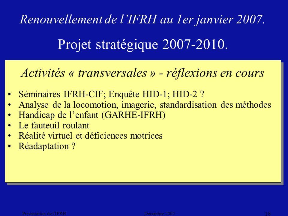 Décembre 2005Présentation de l IFRH 18 Activités « transversales » - réflexions en cours Séminaires IFRH-CIF; Enquête HID-1; HID-2 .