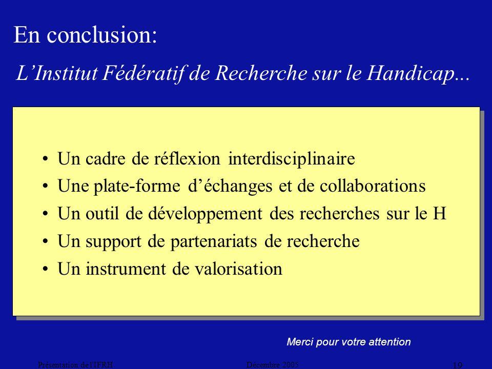Décembre 2005Présentation de l IFRH 19 Merci pour votre attention Un cadre de réflexion interdisciplinaire Une plate-forme déchanges et de collaborations Un outil de développement des recherches sur le H Un support de partenariats de recherche Un instrument de valorisation Un cadre de réflexion interdisciplinaire Une plate-forme déchanges et de collaborations Un outil de développement des recherches sur le H Un support de partenariats de recherche Un instrument de valorisation En conclusion: LInstitut Fédératif de Recherche sur le Handicap...
