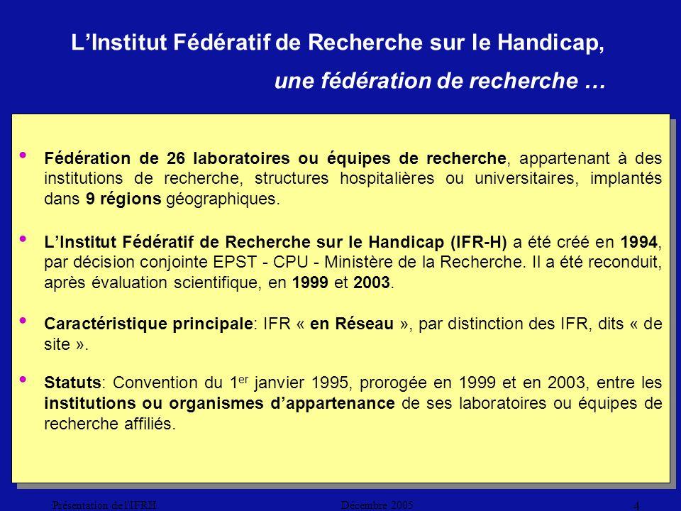 Décembre 2005Présentation de l IFRH 4 LInstitut Fédératif de Recherche sur le Handicap, une fédération de recherche … Fédération de 26 laboratoires ou équipes de recherche, appartenant à des institutions de recherche, structures hospitalières ou universitaires, implantés dans 9 régions géographiques.