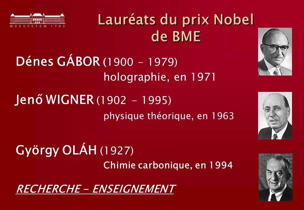 10 Lauréats du prix Nobel de BME Dénes GÁBOR (1900 - 1979) holographie, en 1971 Jenő WIGNER (1902 - 1995) physique théorique, en 1963 György OLÁH (1927) Chimie carbonique, en 1994 RECHERCHE - ENSEIGNEMENT