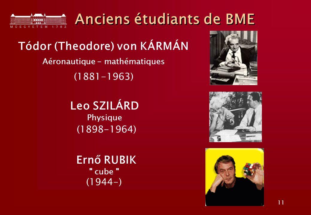 11 Anciens étudiants de BME Tódor (Theodore) von KÁRMÁN Aéronautique - mathématiques (1881-1963) Leo SZILÁRD Physique (1898-1964) Ernő RUBIK cube (1944-)