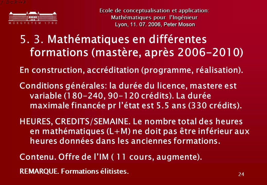 24 Ecole de conceptualisation et application: Mathématiques pour lIngénieur Lyon, 11.