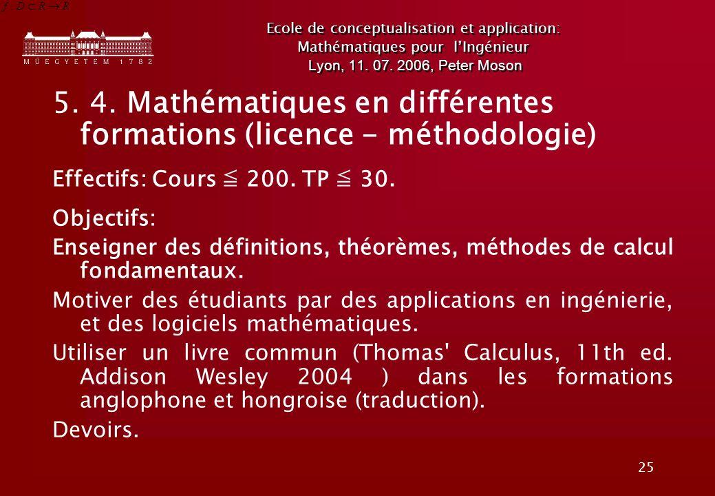 25 Ecole de conceptualisation et application: Mathématiques pour lIngénieur Lyon, 11.