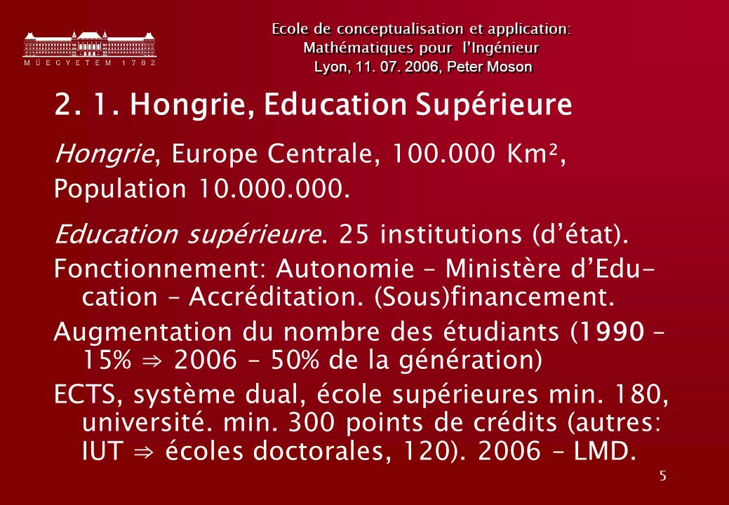 5 Ecole de conceptualisation et application: Mathématiques pour lIngénieur Lyon, 11.