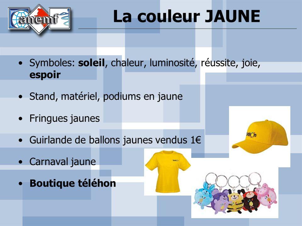 Symboles: soleil, chaleur, luminosité, réussite, joie, espoir Stand, matériel, podiums en jaune Fringues jaunes Guirlande de ballons jaunes vendus 1 C