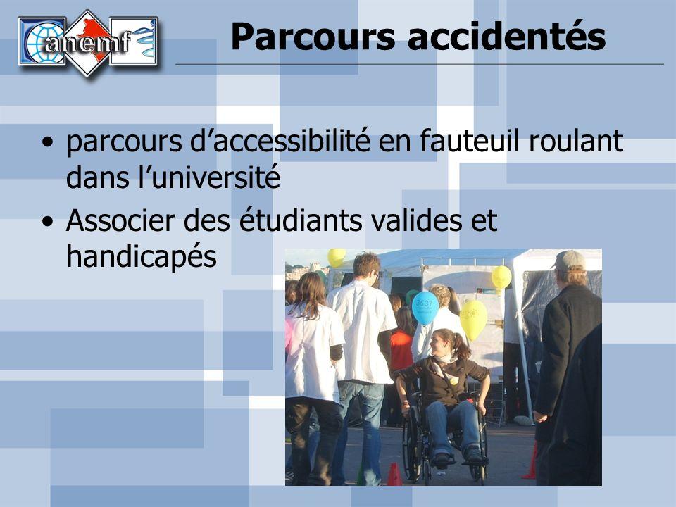 Parcours accidentés parcours daccessibilité en fauteuil roulant dans luniversité Associer des étudiants valides et handicapés