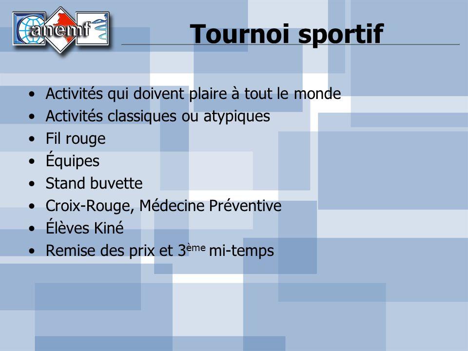 Tournoi sportif Activités qui doivent plaire à tout le monde Activités classiques ou atypiques Fil rouge Équipes Stand buvette Croix-Rouge, Médecine P