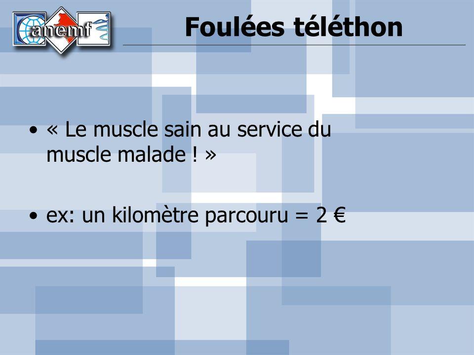 Foulées téléthon « Le muscle sain au service du muscle malade ! » ex: un kilomètre parcouru = 2
