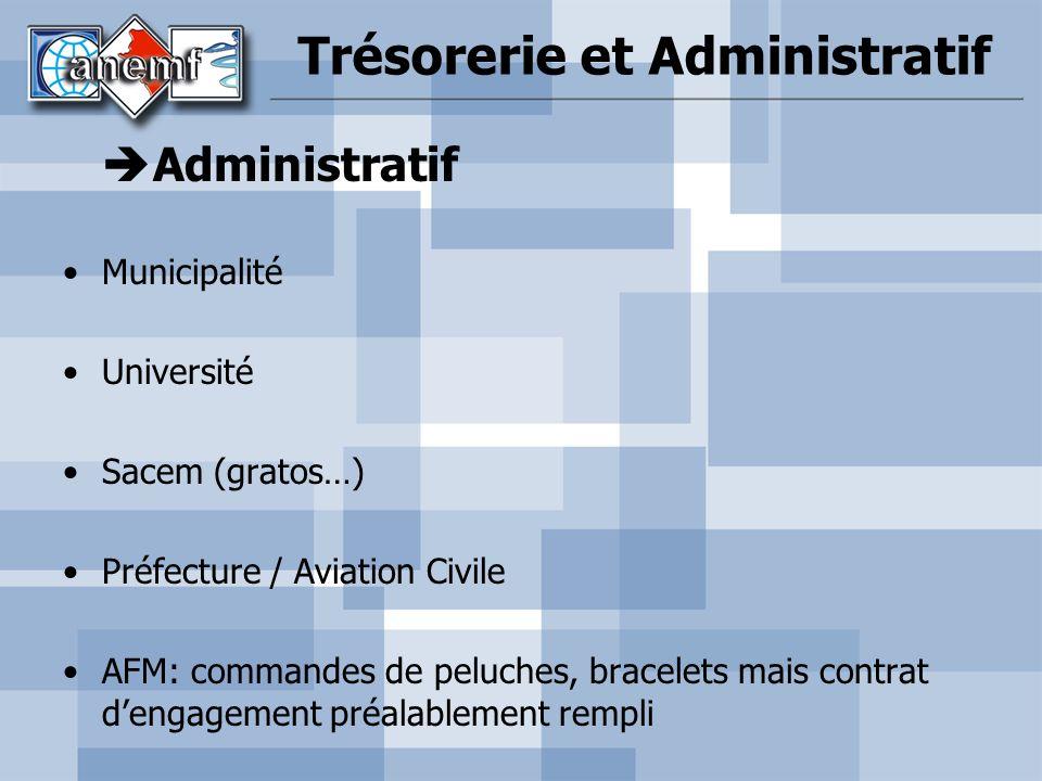 Trésorerie et Administratif Administratif Municipalité Université Sacem (gratos…) Préfecture / Aviation Civile AFM: commandes de peluches, bracelets m