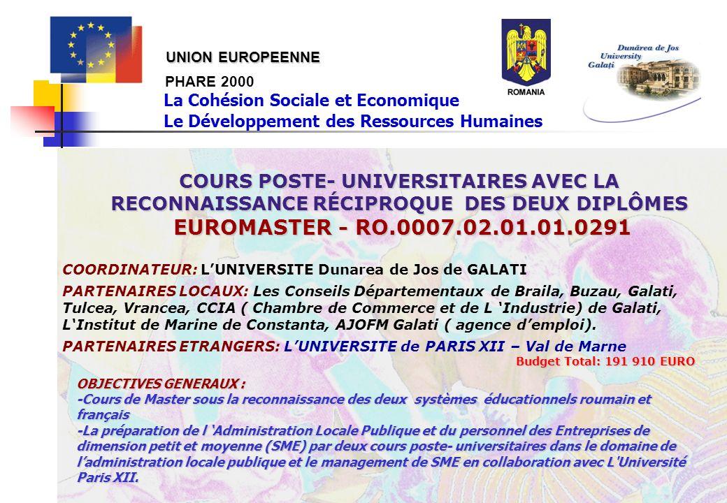 PHARE 2000 COURS POSTE- UNIVERSITAIRES AVEC LA RECONNAISSANCE RÉCIPROQUE DES DEUX DIPLÔMES EUROMASTER - RO.0007.02.01.01.0291 EUROMASTER - RO.0007.02.