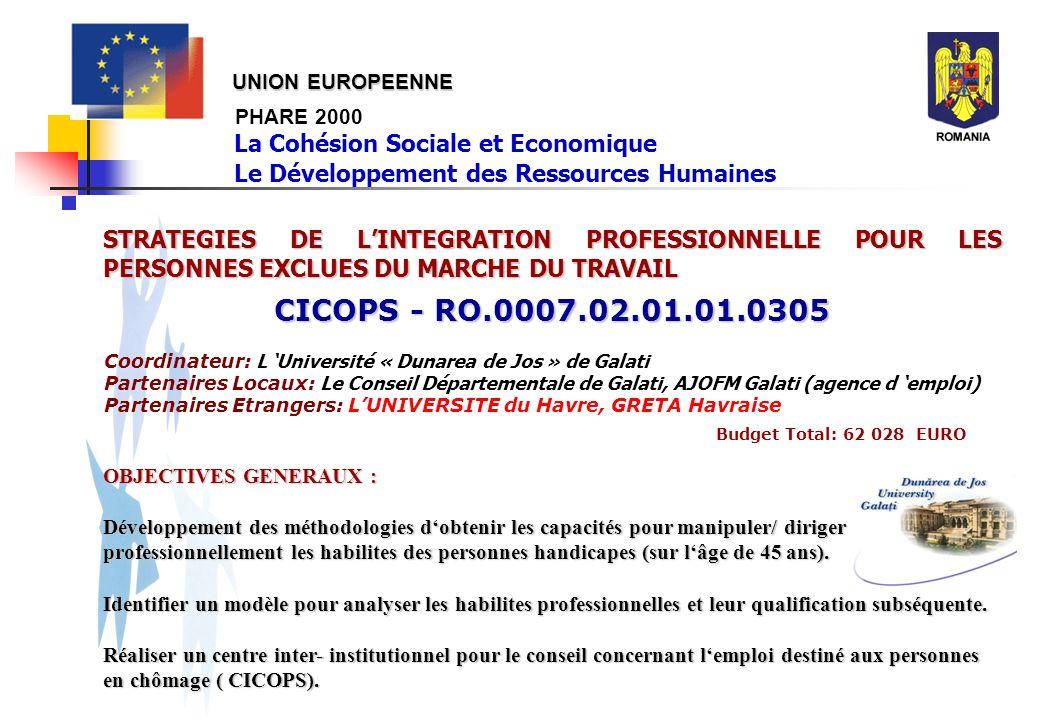 PHARE 2000 STRATEGIES DE LINTEGRATION PROFESSIONNELLE POUR LES PERSONNES EXCLUES DU MARCHE DU TRAVAIL CICOPS - RO.0007.02.01.01.0305 Budget Total: 62