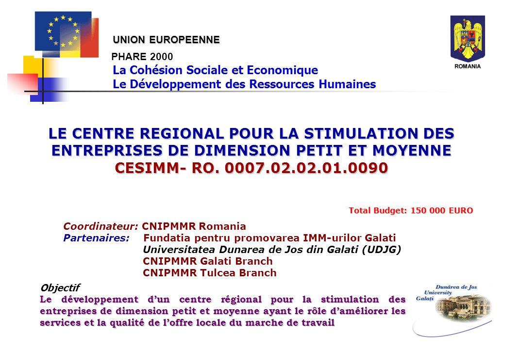 PHARE 2000 LE CENTRE REGIONAL POUR LA STIMULATION DES ENTREPRISES DE DIMENSION PETIT ET MOYENNE CESIMM- RO. 0007.02.02.01.0090 Total Budget: 150 000 E