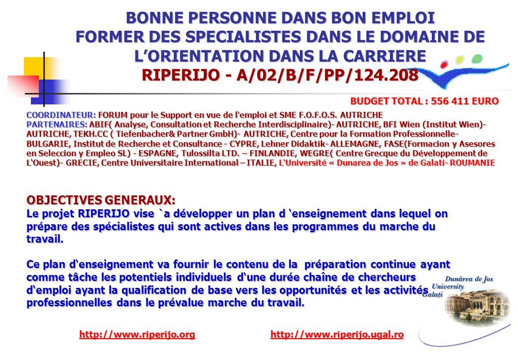 BONNE PERSONNE DANS BON EMPLOI FORMER DES SPECIALISTES DANS LE DOMAINE DE LORIENTATION DANS LA CARRIERE RIPERIJO - A/02/B/F/PP/124.208 COORDINATEUR: F