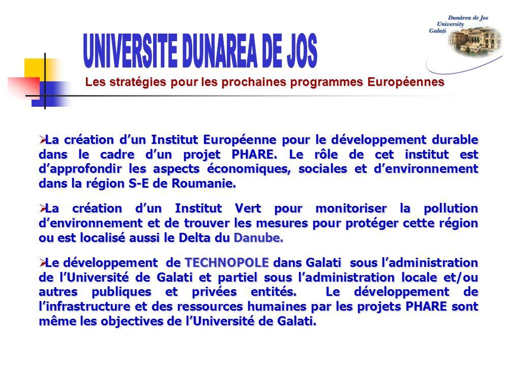 Les stratégies pour les prochaines programmes Européennes La création dun Institut Européenne pour le développement durable dans le cadre dun projet P