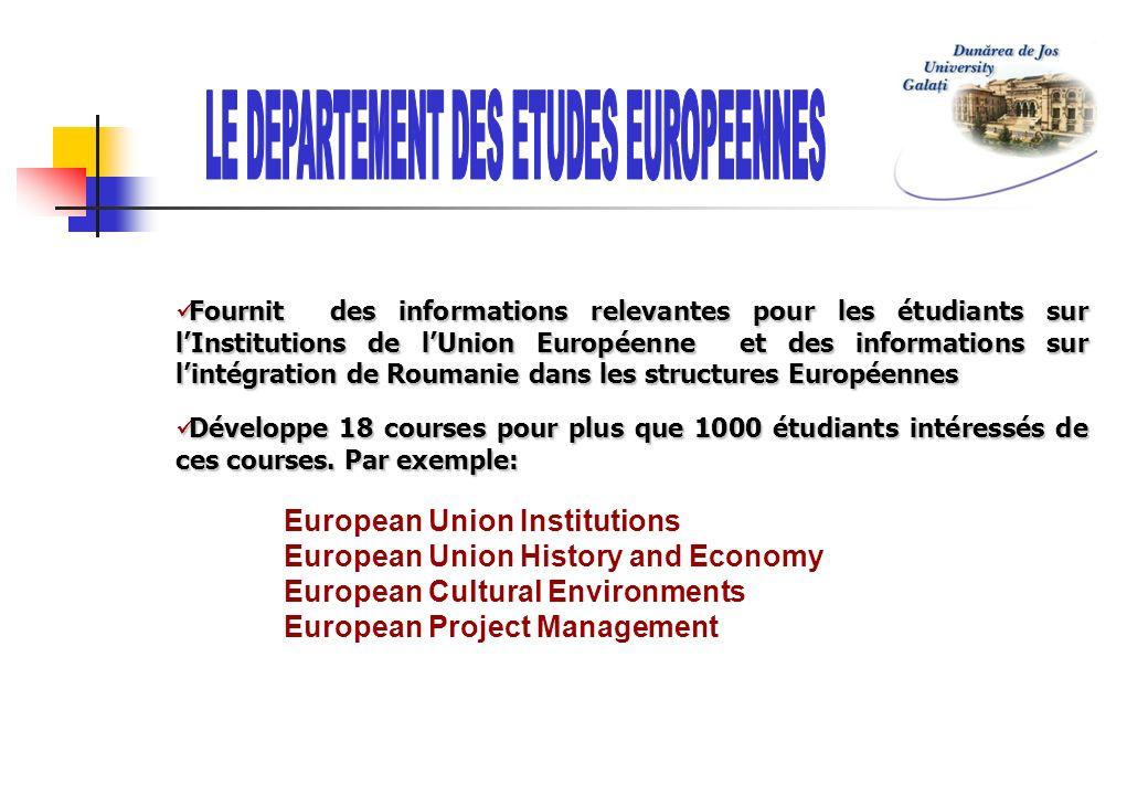 Fournit des informations relevantes pour les étudiants sur lInstitutions de lUnion Européenne et des informations sur lintégration de Roumanie dans le