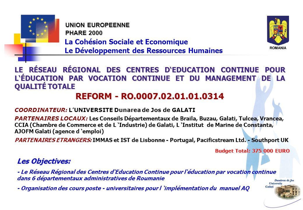UNION EUROPEENNE PHARE 2000 La Cohésion Sociale et Economique Le Développement des Ressources Humaines LE RÉSEAU RÉGIONAL DES CENTRES DEDUCATION CONTI