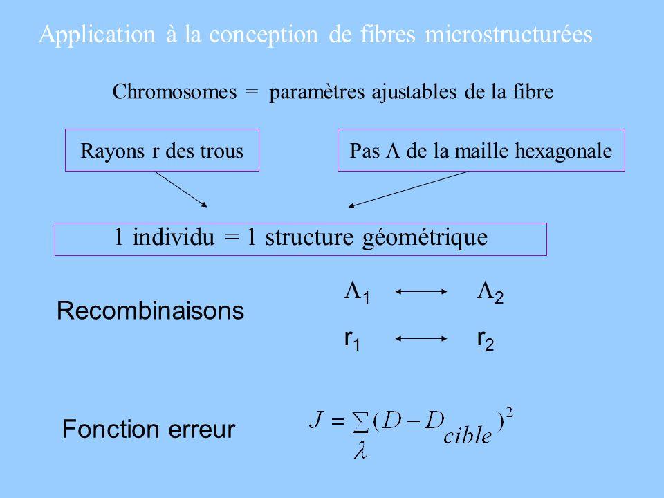 Application à la conception de fibres microstructurées Chromosomes = paramètres ajustables de la fibre Rayons r des trousPas de la maille hexagonale 1