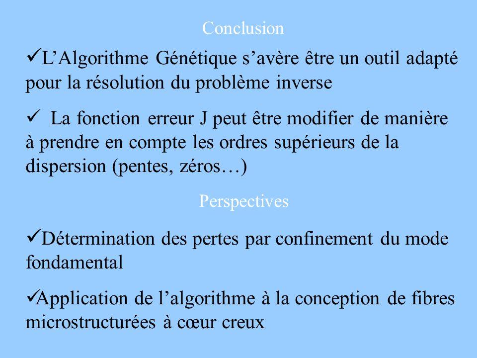 Conclusion LAlgorithme Génétique savère être un outil adapté pour la résolution du problème inverse La fonction erreur J peut être modifier de manière